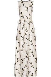 Tory Burch Taya Embroidered Organza Maxi Dress White