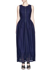 Azzedine Alaia Broderie Helice Virgin Wool Cashmere Dress Blue