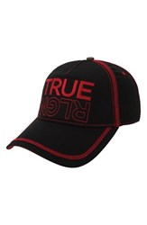 Men's True Religion Brand Jeans Overlock Stitch Ball Cap Black