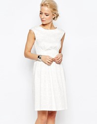 Closet Midi Dress In Diamond Jacquard Ivory White