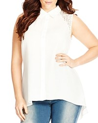 City Chic Lace Inset Sleeveless Top Ivory