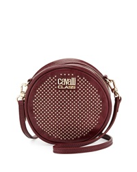Class Roberto Cavalli Round Diane Studded Leather Crossbody Purple