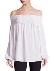 Escada Off The Shoulder Peasant Blouse Natural