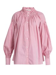 Teija High Neck Smocked Striped Cotton Shirt Light Pink