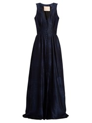 Brock Collection Dylan Button Front Silk Blend Gown Navy