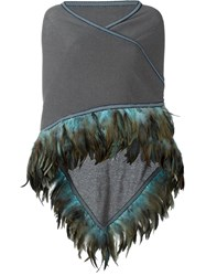 Antonia Zander Feather Trimmed Cape Grey