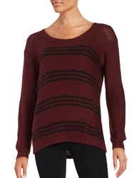 Design Lab Lord And Taylor Knit Striped Sweater Burgundy