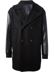 One Eleven Contrasting Sleeves Hooded Peacoat Black