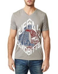 Buffalo David Bitton V Neck Graphic Print T Shirt Grey