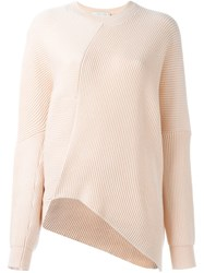 Stella Mccartney Draped Crew Neck Jumper Nude And Neutrals