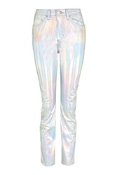 Topshop Moto Holographic Silver Straight Leg Jeans Silver