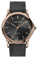 Emporio Armani Swiss Made Automatic Alligator Leather Strap Watch 42Mm Dark Grey Rose Gold