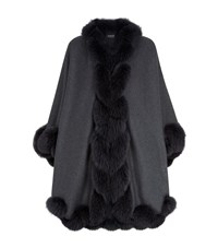 Harrods Of London Fox Fur Spiral Trim Long Cape Female