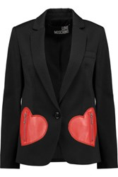 Love Moschino Faux Leather Paneled Jacquard Blazer Black