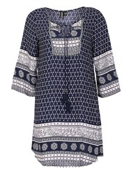 Izabel London Kaftan Style Woodblock Style Print Dress Navy