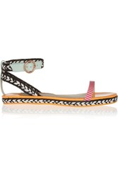 Sophia Webster Bea Patent Leather And Raffia Sandals Pink