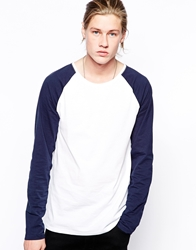 Weekday Minimi Long Sleeve Baseball Top Whiteblue