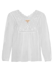 Rebecca Taylor Broderie Anglaise Cotton Gauze Top White