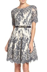 Eliza J Petite Women's Lace Fit And Flare Dress