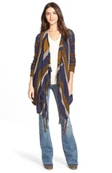 Junior Women's Sun And Shadow Intarsia Stripe Blanket Cardigan Navy Peacoat Jacquard