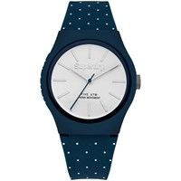 Superdry Unisex Urban Micro Silicone Strap Watch Blue Dot White