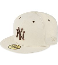 New Era 59Fifty Metal Logo Cotton Yankees Cap Stone Bronze