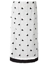 Marco De Vincenzo Lace Layered Mid Length Skirt White