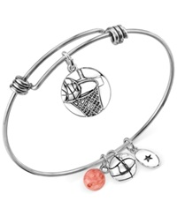 Unwritten Basketball Charm And Cherry Quartz 8Mm Adjustable Bangle Bracelet In Stainless Steel