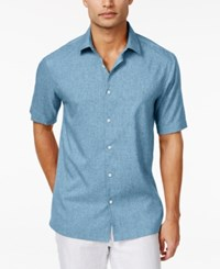 Alfani Short Sleeve Two Tone Solid Shirt Only At Macy's Ocean River