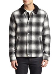 Madison Supply Ombre Plaid Wool Jacket Black White