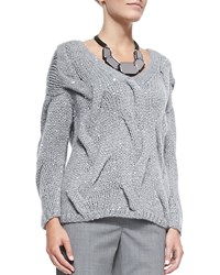 Lafayette 148 New York V Neck Cashmere Blend Cable Sweater Nickel Melange