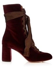 Chloe Harper Lace Up Suede Ankle Boots Burgundy