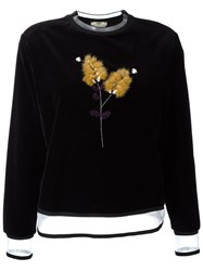 Fendi Mink Fur Branch Velvet Jumper Black