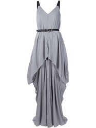 Vera Wang Draped Belted Gown Grey