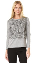 Leur Logette Front Lace Long Sleeve Top Grey