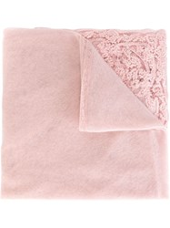 Ermanno Scervino Embroidered Lace Trim Scarf Pink And Purple