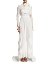 Self Portrait Long Sleeve Pleated Lace Trim Gown Off White Size 2