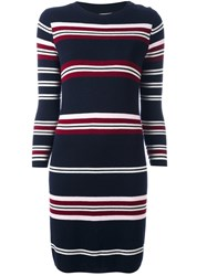 Chinti And Parker Striped Ribbed Dress Blue