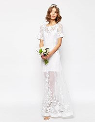 Asos Bridal Delicate Lace And Pearl Maxi Dress White