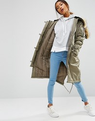 Asos Luxe Parka With Ma1 Detail Khaki Green