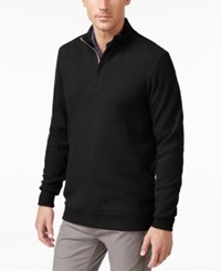 Tasso Elba Men's Big And Tall Honeycomb Textured Quarter Zip Sweater Only At Macy's Deep Black