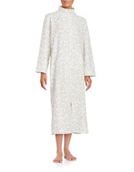 Miss Elaine Floral Print Zip Up Duster Robe White