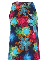 Izabel London Hibiscus Print Top With Pleat Detail Multi Coloured