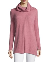 Petite Cowl Neck Long Sleeve Sweater Rose Pink Women's Lafayette 148 New York