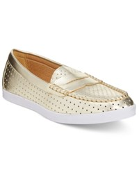 Wanted Carmel Perforated Penny Loafers Women's Shoes Gold