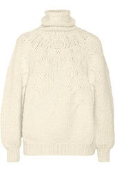 Oscar De La Renta Chunky Knit Alpaca Blend Turtleneck Sweater White