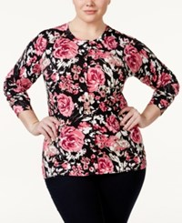 Charter Club Plus Size Printed Button Down Cardigan Only At Macy's Deep Black Combo
