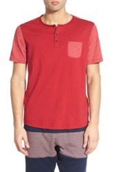 Howe 'Sextant' Short Sleeve Pocket Henley T Shirt Red