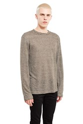 Alexander Wang Striped Linen Long Sleeve T Shirt Army Green