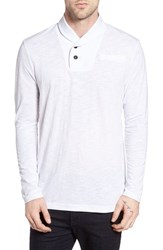 G Star Men's Raw 'Gilik' Shawl Collar Long Sleeve T Shirt White